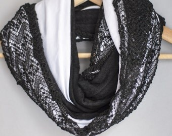 Unique women black and white ,handmade cotton lace, infinity scarf with braid