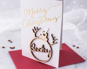 Personalised Reindeer Name Bauble Christmas Card