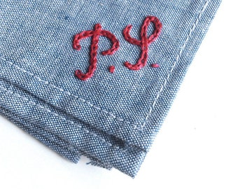 2 Letters Custom Hand Embroidered Monogram - a pocket square is not included
