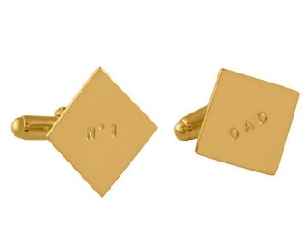 Personalized Sterling Silver Square Cufflinks, Best Man/Groom/Father of the bride cufflinks, Personalized cufflinks, Gold plated, Rose gold