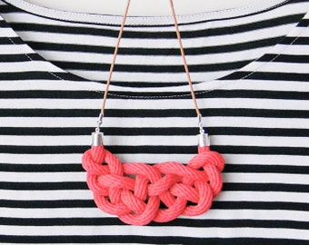 Celtic knot necklace in apricot