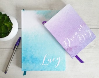 Large hand made personalised notebook / journal, in my watercolour wash designs, 8 shades, personalised with any text, name or initials