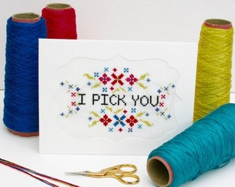 Cross Stitch valentines Card kit, I pick you, DIY greetings card