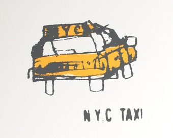 NYC TAXI ART, New York Screen print, Handmade Original Screenprint Manhattan, Signed Limited Edition Hand pulled 2 Colors Yellow & Dark Grey