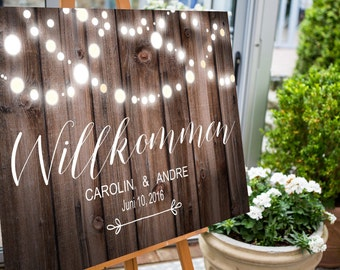Willkommensschild Hochzeit Aufsteller Holz Digital Ausdruckbar Schild Empfang