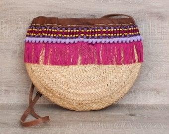 Boho chic shoulder bag, ethnic bags, palm basket, boho, custom bag , fucshia nylon fringes
