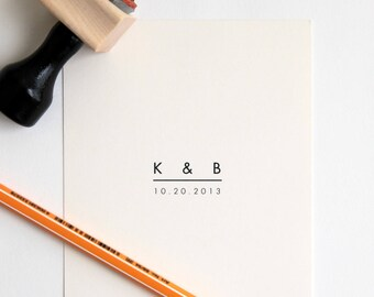 Custom Wedding Stamp with Initials + Date (Wood Mounted) Ultra Minimal Modern Design, Personalized w/ optional wooden handle (C250) 2 sizes
