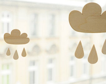 LITTLE wooden cloud with drops, natural wood, ready to decorate, wooden supplies, wooden decor, jewelry supplies, natural wood, unpainted
