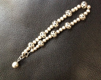 Hollow Sterling beaded bracelet with Bell