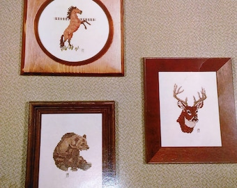 Wildlife Cross Stitch Sampler VI/White-Tailed Deer, Mustang And Grizzly/Directions And Print Pattern Only (H)