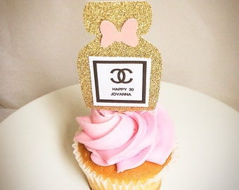 Chanel cupcake toppers-Chanel favors- custom cupcake toppers-3-7 days before they are shipped- set of 12-fashion theme party-dirty 30-ladies