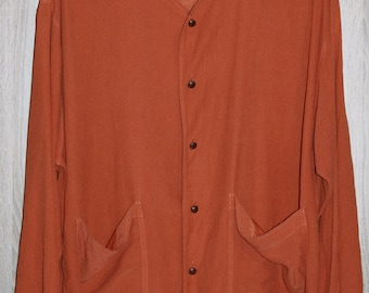 Sale Orange Silk Blouse Vintage Plus Size XXXL