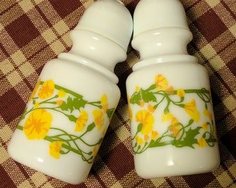Milk Glass Vintage Salt and Pepper Shakers - yellow and green floral design