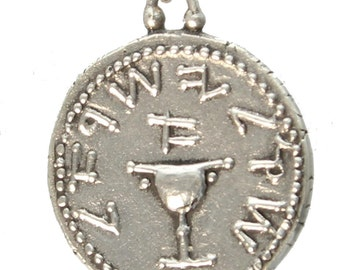 Shekel of Judea's First Jewish Revolt Sterling Silver Pendant and Chain