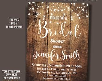 Bridal Shower Invitation, Rustic Wood and lights invite, Wedding Shower, Self-editable invite PDF A202
