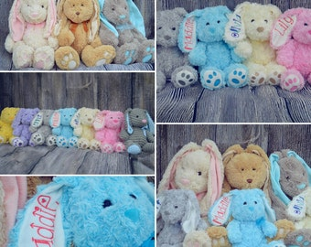 SALE***Embriodered Easter Bunnies, Personalized spring rabbits, baby toys, bunny rabbit with name on ear, newborn stuffed animal birth stats