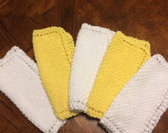 Yellow and White Hand Knitted Dishcloths