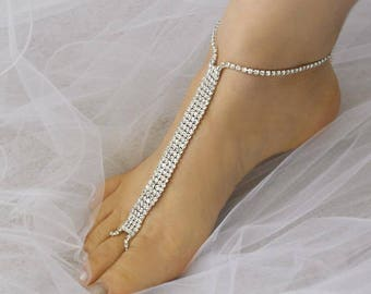 Wedding Barefoot Sandals, Bridal Foot Jewelry, Silver Plated Rhinestone Foot Jewelry, Footless Sandal-SD037