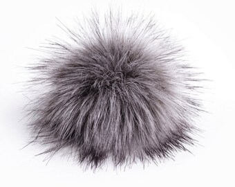 Size S grey faux fur pom pom 4.5 inches/ 12cm