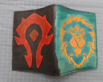 Handmade Leather Journal/notebook/diary cover that features World of Warcraft logos