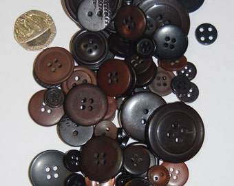 Brown Coloured Buttons - Mix Weights - Bags Various Sizes
