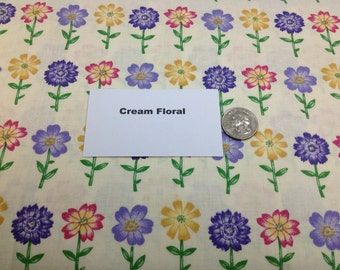 Cream Floral Fabric - 2 Yards