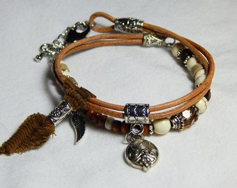 Camel leather bracelet and pearls