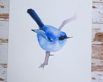 ORIGINAL watercolor PAINTING of a blue bird