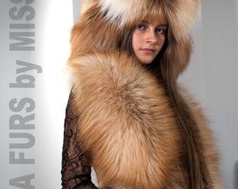 Saga Royal golden island fox fur X-Large stole wrap