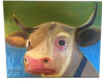 Original Cow Art on Canvas