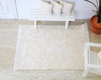CLOSING DOWN SALE 1:12 scale Floor Rug for Dollhouses, Cream with woven Flourish Design, Living Room Decor, Doll house Mat, Modern Dollhouse