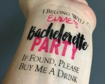 Bachelorette Party Tattoo, Bachelorette Tattoo, If Found, Buy Me a Drink, Cute Bachelorette Tattoo, Temporary Tattoo, Personalized, Pink