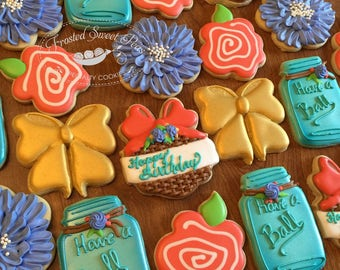 1 dozen mason jar flower basket birthday cookies