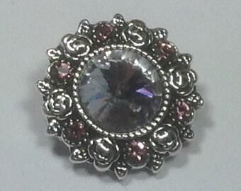 New.. 20mm PINKISH PURPLE Beautiful snap... SNAP...surrounded by smaller pink stones.....antique silver ..