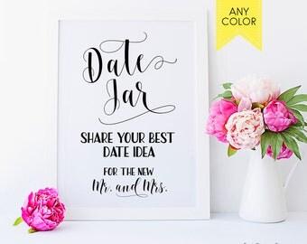 SALE! Date jar sign Bridal shower signs Date night ideas Date night jar sign Wedding date sign Date night Bridal shower games Date ideas