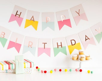 Pastel Birthday Banner, Pastel First Birthday, Happy Birthday Banner, Girl Birthday, 1st Birthday, Pastel Pink Birthday, Birthday Party
