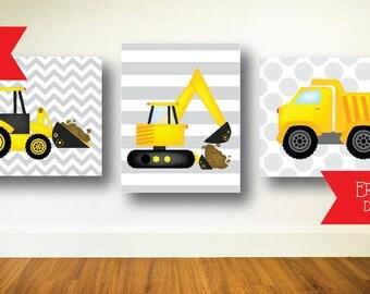 Construction, Wall Decor, Prints, Dump truck, Backhoe, Excavator, Yellow, Orange, Grey, Little Boy, Birthday Decor, Bedroom Decor