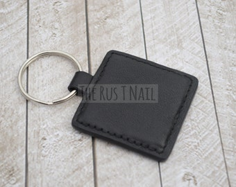 FREE SHIPPING - Square Leather Keychain - Black