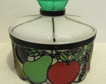 A Neat Vintage 80's era,CHEESY Colorful Little Plexicon FRUIT Light Fixture.