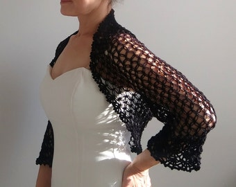 Black bolero, black lacy shrug, wedding bolero, knit bolero, lacy shrug, 3/4 sleeve bolero, fast shipping, ready to ship