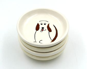 Small Ceramic Plate with a Happy Dog