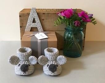 Koala Baby Booties - Handmade Baby Booties - Crochet Booties - Animal Booties - Baby Gift - Baby Shower Gift - Newborn Gift - Koala