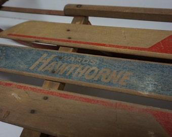 Ward Hawthorne Kid Snow Sled, Steel Snow Toboggan, Vintage Wooden Sled, Christmas Decor, Junior Size Sleigh