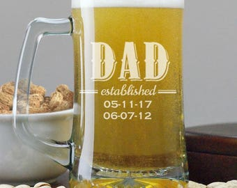 Engraved Personalized Established Dad Beer Glass, Mug, Dad Established Beer Glass, Dad Glass, New Dad Gift Ideas, Dad Gift From Kids