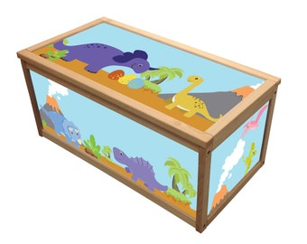 Dinosaurs- Wooden Toy Box / Chest Box Toybox