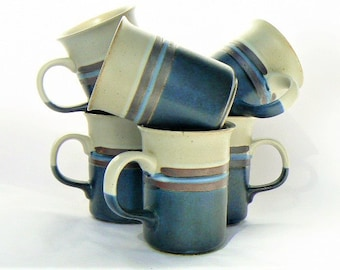 "Seven Ceramic Blue Stoneware Mug Set - Speckeled Cream Gray Cups with Dark Blue Band, Lighter Blue & Maroon/Dark Brown Trim Lines 4""Tall x3"""