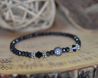 Beaded Bracelet, Crystal Bracelet, Stretchy Bracelet, Women Bracelet, Gift for Her, Gemstone Bracelet, Black Bracelet, Fancy Bracelet