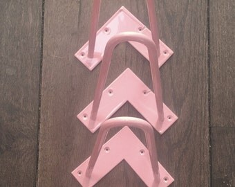 set of 4 light pink powder coated hairpin legs 26cm 10 inch