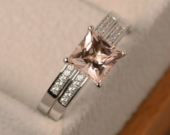 Natural morganite ring, morganite engagement ring, wedding ring sets, pink morganite, sterlling silver