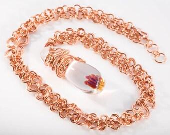 Purple luster and Copper tones Fairy raindrop pendant